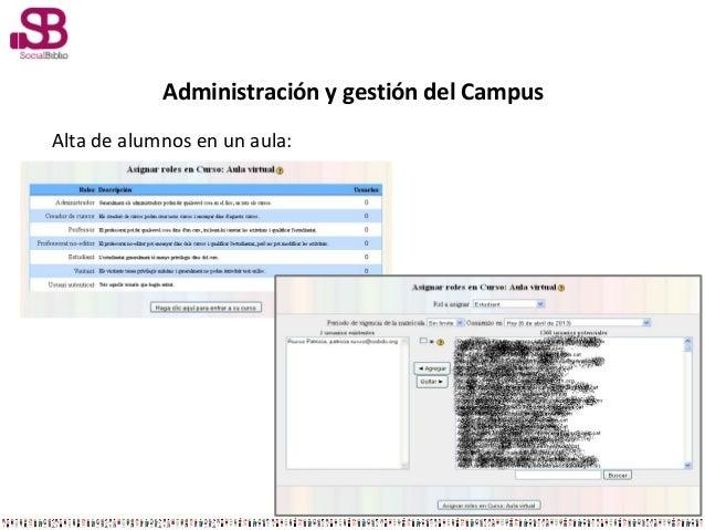 Administración y gestión del CampusAlta de alumnos en un aula:
