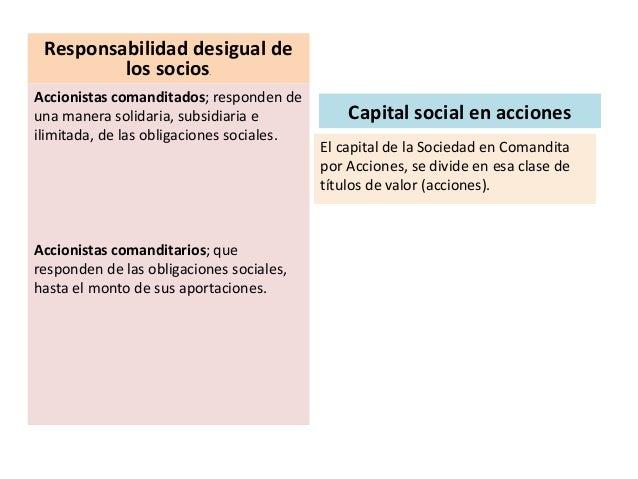 Responsabilidad desigual de los socios. Accionistas comanditados; responden de una manera solidaria, subsidiaria e ilimita...