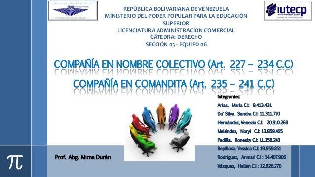 Prof. Abg. Mirna Durán COMPAÑÍA EN NOMBRE COLECTIVO (Art. 227 – 234 C.C) COMPAÑÍA EN COMANDITA (Art. 235 – 241 C.C) REPÚBL...