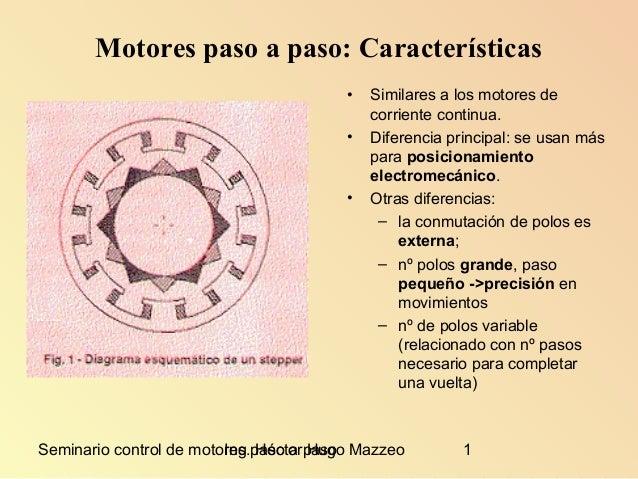 Seminario control de motores paso a pasoIng. Héctor Hugo Mazzeo 1 Motores paso a paso: Características • Similares a los m...