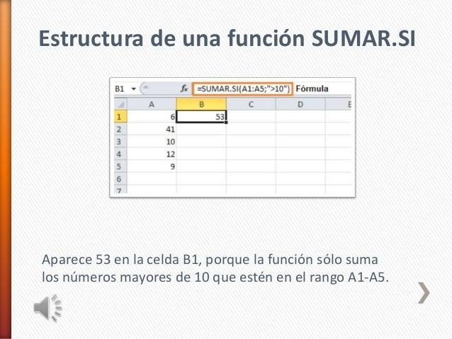 Estructura de una función SUMAR.SIAparece 53 en la celda B1, porque la función sólo sumalos números mayores de 10 que esté...
