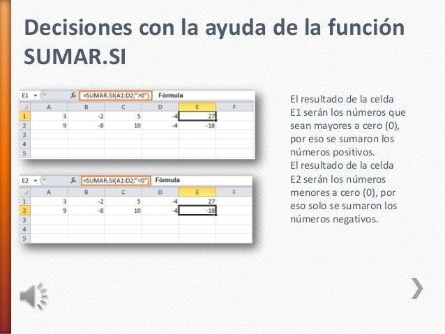 Decisiones con la ayuda de la funciónSUMAR.SIEl resultado de la celdaE1 serán los números quesean mayores a cero (0),por e...