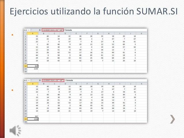 Ejercicios utilizando la función SUMAR.SI••