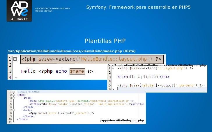 Symfony: Framework para desarrollo en PHP5                                        Plantillas PHP/src/Application/HelloBund...