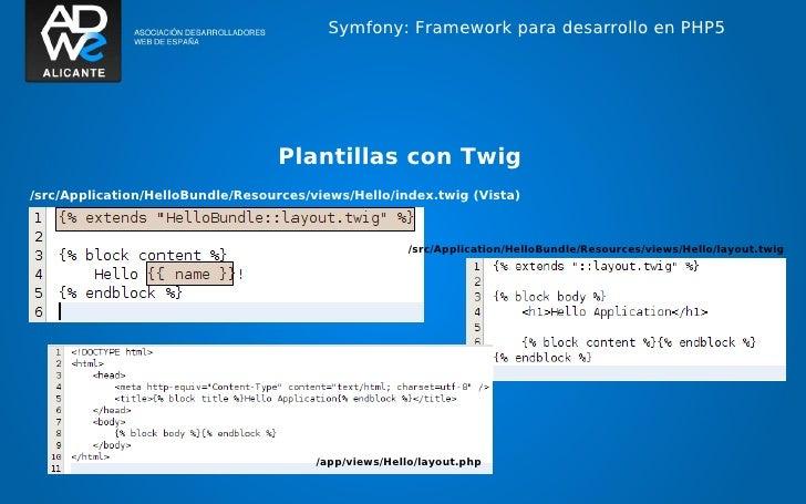 Symfony: Framework para desarrollo en PHP5                                  Plantillas con Twig/src/Application/HelloBundl...