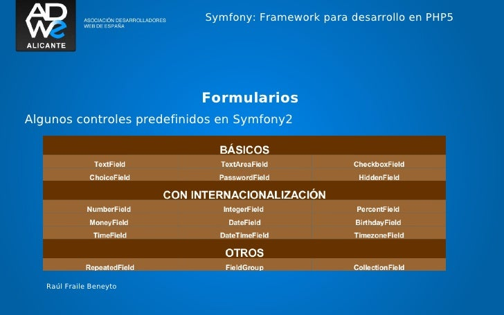 Symfony: Framework para desarrollo en PHP5                           FormulariosAlgunos controles predefinidos en Symfony2...