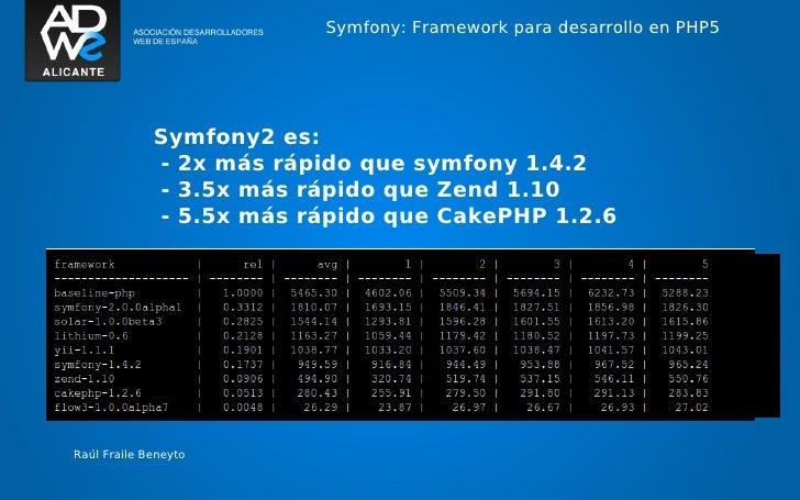 Symfony: Framework para desarrollo en PHP5             Symfony2 es:             - 2x más rápido que symfony 1.4.2         ...