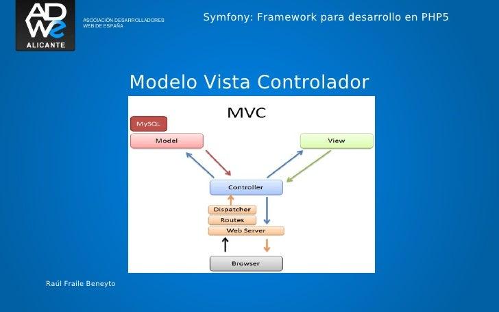 Symfony: Framework para desarrollo en PHP5                      Modelo Vista ControladorRaúl Fraile Beneyto