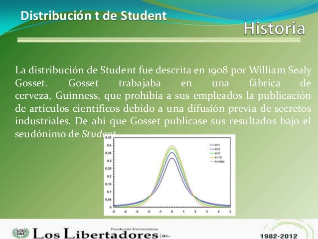 Distribución t de StudentLa distribución de Student fue descrita en 1908 por William SealyGosset.     Gosset      trabajab...