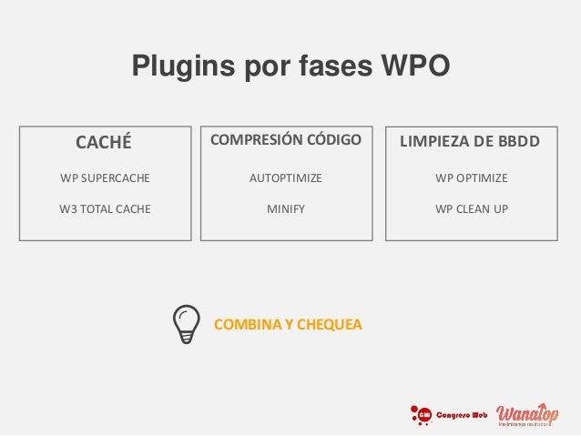 WP SUPERCACHE W3 TOTAL CACHE CACHÉ AUTOPTIMIZE MINIFY COMPRESIÓN CÓDIGO WP OPTIMIZE WP CLEAN UP LIMPIEZA DE BBDD Plugins p...