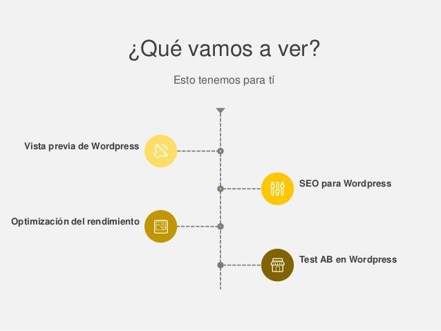 ¿Qué vamos a ver? Esto tenemos para tí Vista previa de Wordpress Optimización del rendimiento SEO para Wordpress Test AB e...