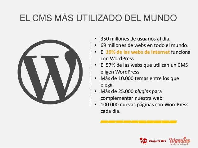 EL CMS MÁS UTILIZADO DEL MUNDO • 350 millones de usuarios al día. • 69 millones de webs en todo el mundo. • El 19% de las ...