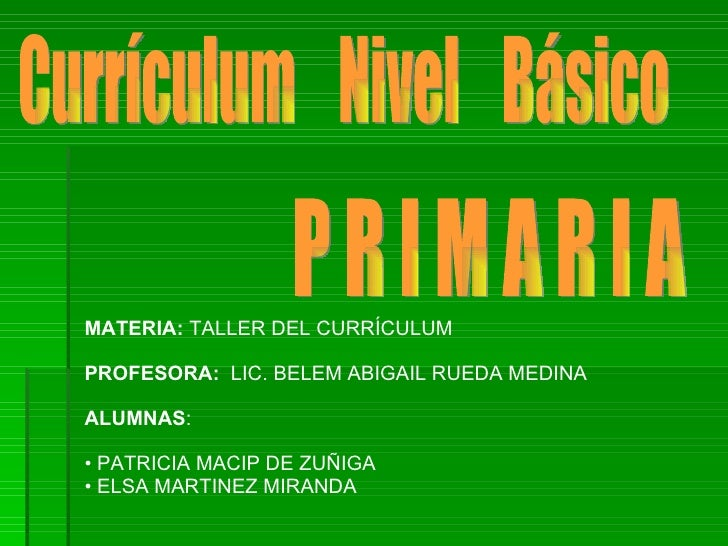 Currículum  Nivel  Básico P R I M A R I A  <ul><li>MATERIA:  TALLER DEL CURRÍCULUM </li></ul><ul><li>PROFESORA:  LIC. BELE...