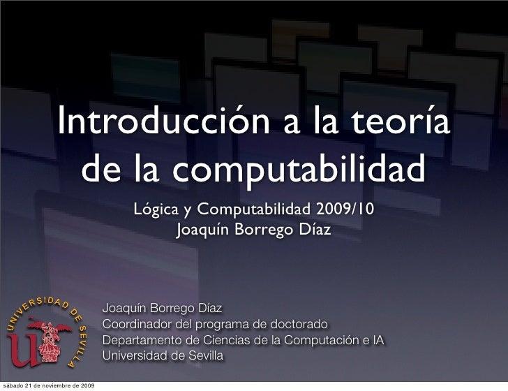 Introducción a la teoría                    de la computabilidad                                       Lógica y Computabil...
