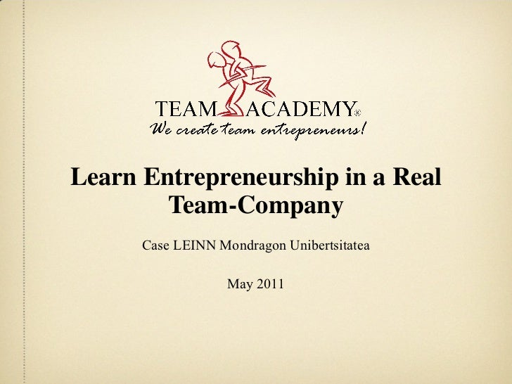 Learn Entrepreneurship in a Real Team-Company Case LEINN Mondragon Unibertsitatea May 2011