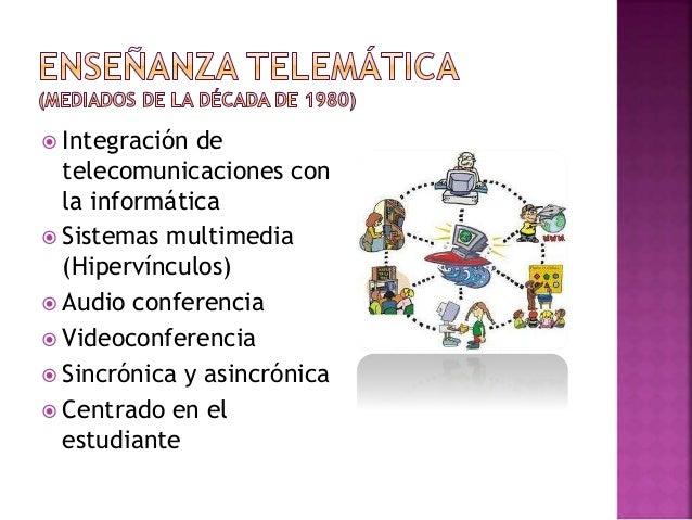 Contiene: 1. Enseñanza asistida por ordenador 2. Mayor comunicación 3. Currículo abierto