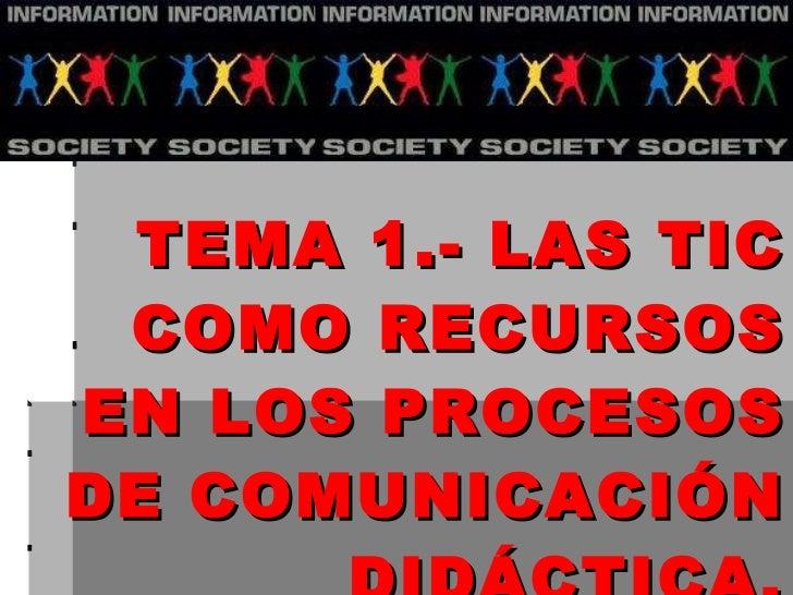 Tema 1 TEMA 1.- LAS TIC COMO RECURSOS EN LOS PROCESOS DE COMUNICACIÓN DIDÁCTICA.