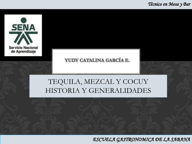Técnico en Mesa y Bar    YUDY CATALINA GARCÍA E. TEQUILA, MEZCAL Y COCUYHISTORIA Y GENERALIDADES             ESCUELA GASTR...