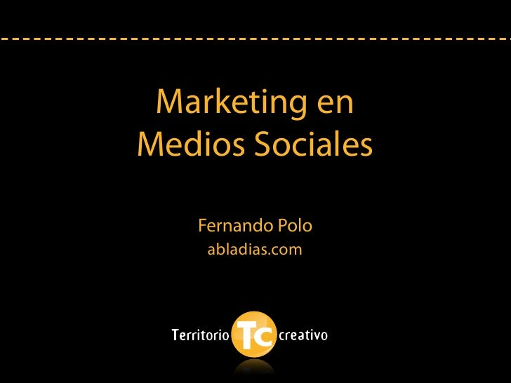 Marketing en Medios Sociales     Fernando Polo     abladias.com