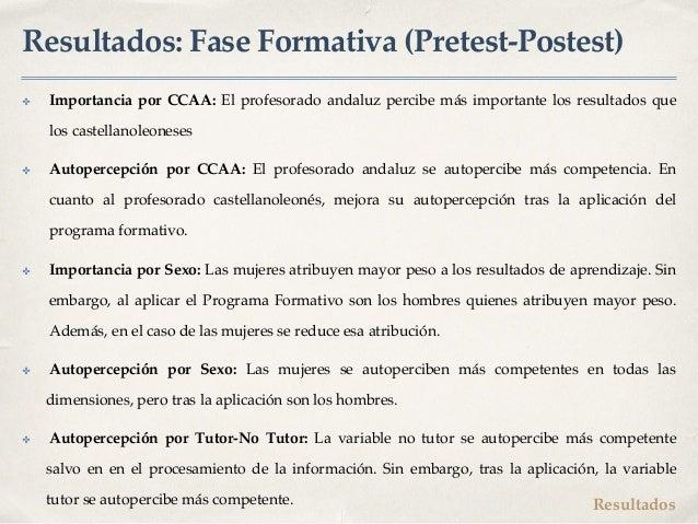 Resultados: Fase Formativa (Pretest-Postest) ✤ Importancia por CCAA: El profesorado andaluz percibe más importante los res...