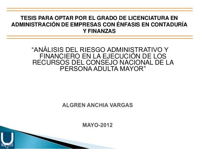 """TESIS PARA OPTAR POR EL GRADO DE LICENCIATURA EN ADMINISTRACIÓN DE EMPRESAS CON ÉNFASIS EN CONTADURÍA Y FINANZAS  """"ANÁLISI..."""