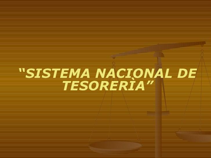 """"""" SISTEMA NACIONAL DE TESORERÌA"""""""