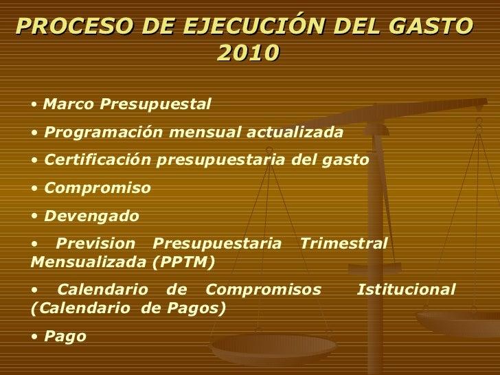 PROCESO DE EJECUCIÓN DEL GASTO  2010 <ul><li>Marco Presupuestal  </li></ul><ul><li>Programación mensual actualizada </li><...