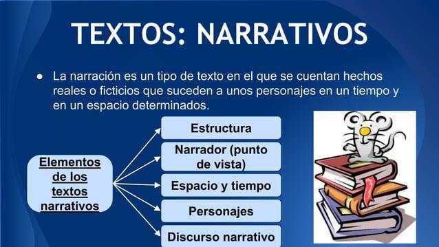 TEXTOS: NARRATIVOS ● La narración es un tipo de texto en el que se cuentan hechos reales o ficticios que suceden a unos pe...