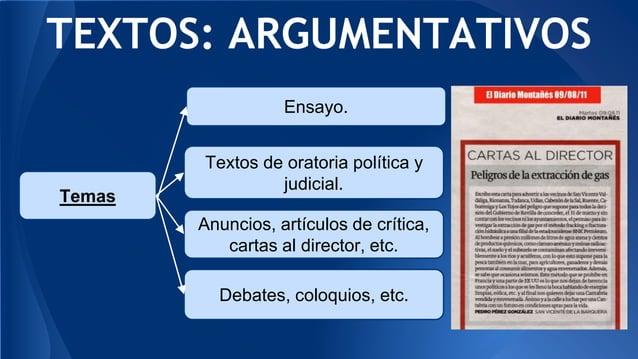 TEXTOS: ARGUMENTATIVOS Debates, coloquios, etc. Temas Ensayo. Textos de oratoria política y judicial. Anuncios, artículos ...