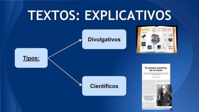TEXTOS: EXPLICATIVOS Tipos: Divulgativos Científicos