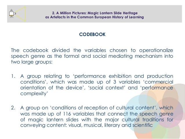 The codebook divided the variables chosen to operationalize speech genre as the formal and social mediating mechanism into...