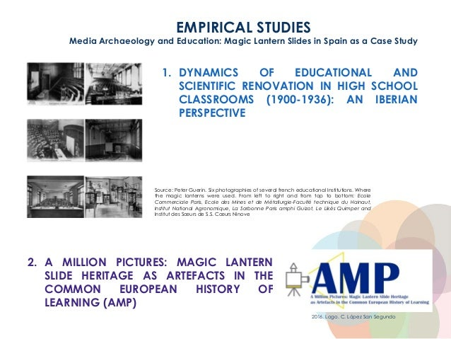 EMPIRICAL STUDIES Media Archaeology and Education: Magic Lantern Slides in Spain as a Case Study 2. A MILLION PICTURES: MA...