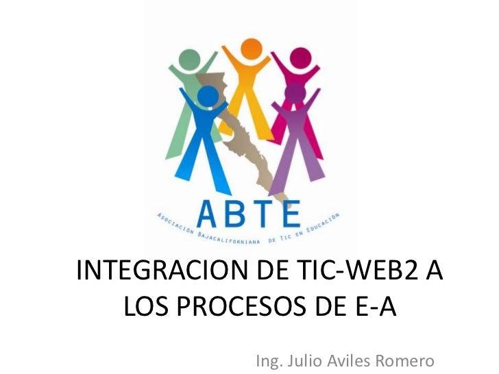 INTEGRACION DE TIC-WEB2 A LOS PROCESOS DE E-A<br />Ing. Julio Aviles Romero<br />