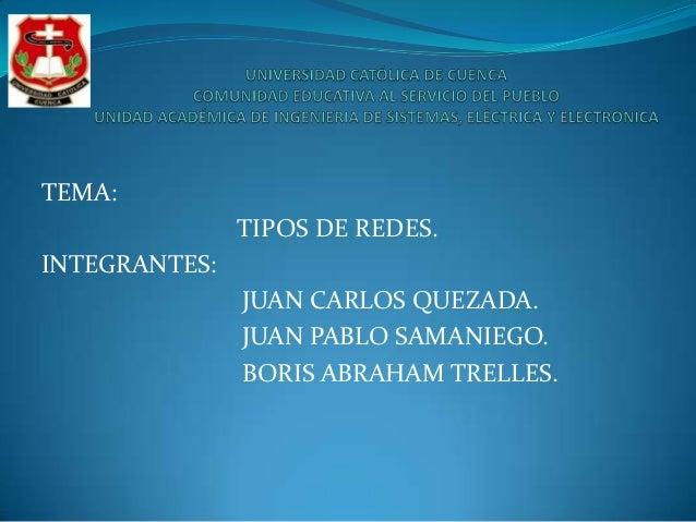 TEMA:               TIPOS DE REDES.INTEGRANTES:               JUAN CARLOS QUEZADA.               JUAN PABLO SAMANIEGO.    ...