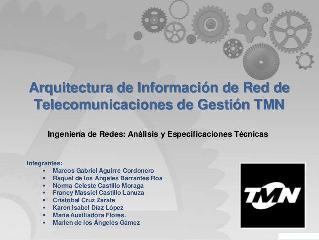 Arquitectura de Información de Red de Telecomunicaciones de Gestión TMN Ingeniería de Redes: Análisis y Especificaciones T...