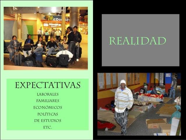 EXPECTATIVAS Laborales Familiares Económicos PolíticAS DE Estudios Etc. REALIDAD