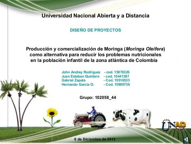 Universidad Nacional Abierta y a Distancia                   DISEÑO DE PROYECTOSProducción y comercialización de Moringa (...