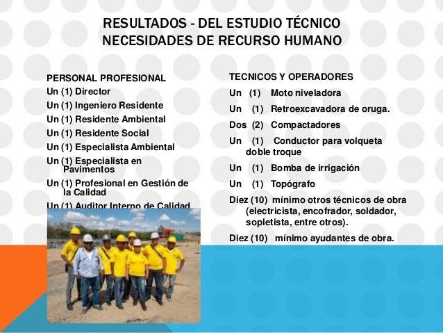 RESULTADOS - DEL ESTUDIO TÉCNICO            NECESIDADES DE RECURSO HUMANOPERSONAL PROFESIONAL                TECNICOS Y OP...