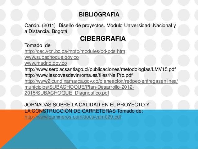 BIBLIOGRAFIACañón. (2011) Diseño de proyectos. Modulo Universidad Nacional ya Distancia. Bogotá.                       CIB...
