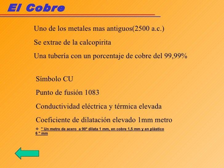 El Cobre Símbolo CU Punto de fusión 1083 Conductividad eléctrica y térmica elevada Coeficiente de dilatación elevado 1mm m...