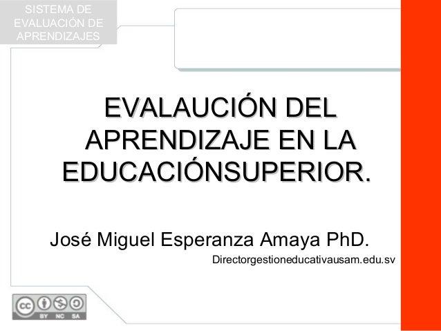 EVALAUCIÓN DELEVALAUCIÓN DEL APRENDIZAJE EN LAAPRENDIZAJE EN LA EDUCACIÓNSUPERIOR.EDUCACIÓNSUPERIOR. José Miguel Esperanza...