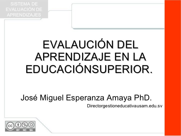 EVALAUCIÓN DEL APRENDIZAJE EN LA EDUCACIÓNSUPERIOR.  José Miguel Esperanza Amaya PhD. Directorgestioneducativausam.edu.sv ...