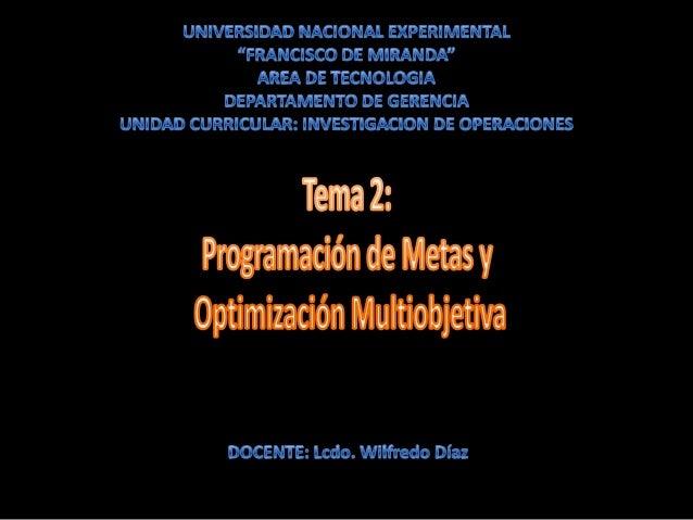 En programación lineal, todos los objetivos o metas de la administración deben incluirse en la función objetivo y se reduc...