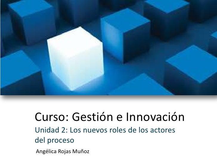 Curso: Gestión e Innovación<br />Unidad 2: Los nuevos roles de los actoresdel proceso<br />Angélica Rojas Muñoz<br />