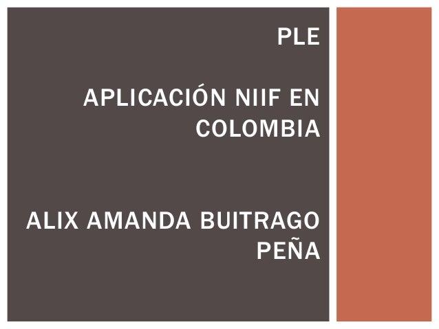 PLE APLICACIÓN NIIF EN COLOMBIA  ALIX AMANDA BUITRAGO PEÑA