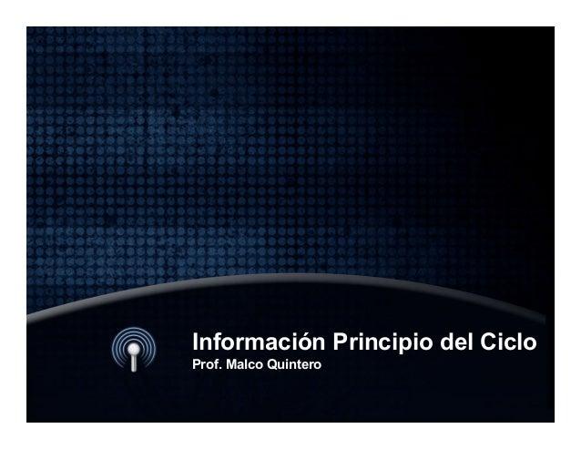 Información Principio del Ciclo Prof. Malco Quintero