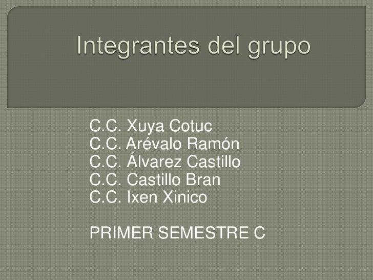 Integrantes del grupo<br />C.C. Xuya Cotuc<br />C.C. Arévalo Ramón<br />C.C. Álvarez Castillo<br />C.C. Castillo Bran<br /...