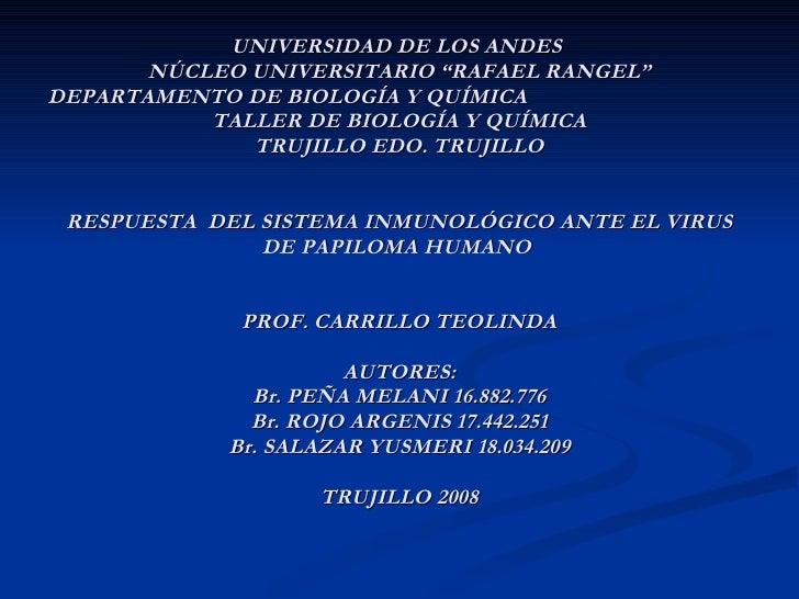 """UNIVERSIDAD DE LOS ANDES  NÚCLEO UNIVERSITARIO """"RAFAEL RANGEL"""" DEPARTAMENTO DE BIOLOGÍA Y QUÍMICA  TALLER DE BIOLOGÍA Y QU..."""