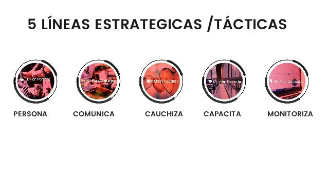 PERSONA COMUNICA CAUCHIZA CAPACITA MONITORIZA 5 LÍNEAS ESTRATEGICAS /TÁCTICAS