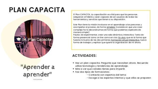 PLAN CAPACITA ACTIVIDADES: El Plan CAPACITA, La capacitación es vital para que las personas adquieran el hábito y sean cap...